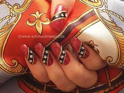 Nail Art Motivo 13 - Esmalte rojo negro piedra strauss estrella - http://www.schmucknaegel.de/