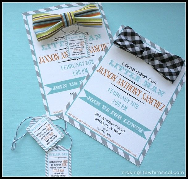 Little Man Baby Shower Wearable Bow Tie Invitation