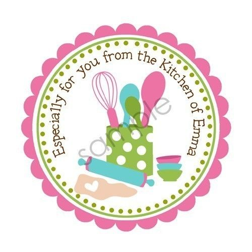 Baking in the kitchen personalized stickers