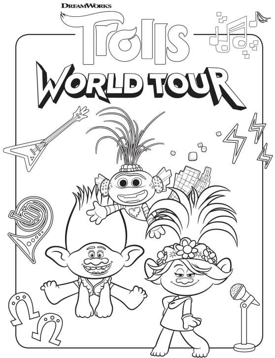 free trolls world tour coloring pages and printable