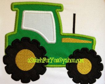 TRACTOR & Wagon Applique Farm Vehicle Boy or Girl -  Machine Embroidery Design by Carrie