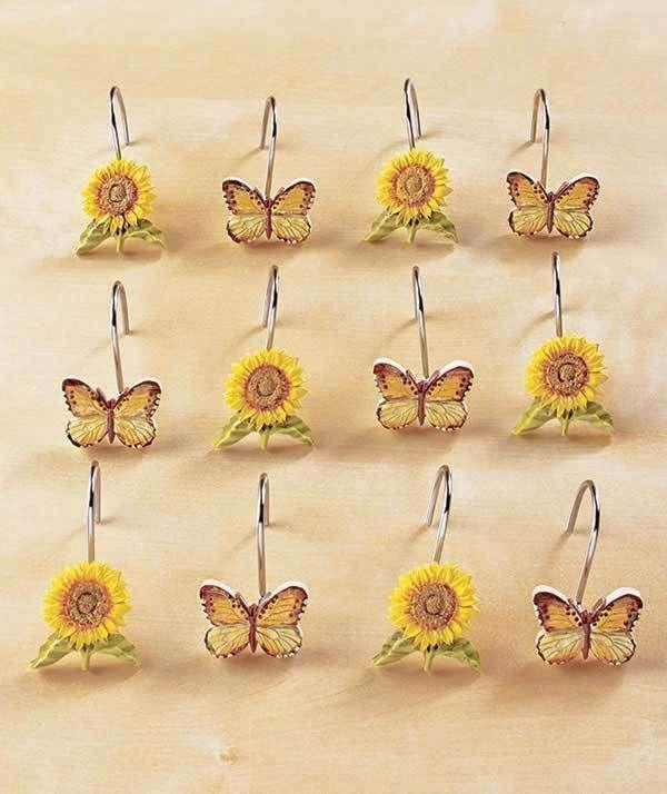 Sunflower Shower Curtain Hooks Sunflower Bathroom Collection