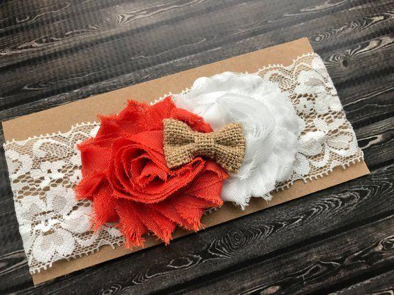 Texas Longhorns headband, burlap baby headband, burnt orange lace shabby chic baby bow #shabbychicheadbands