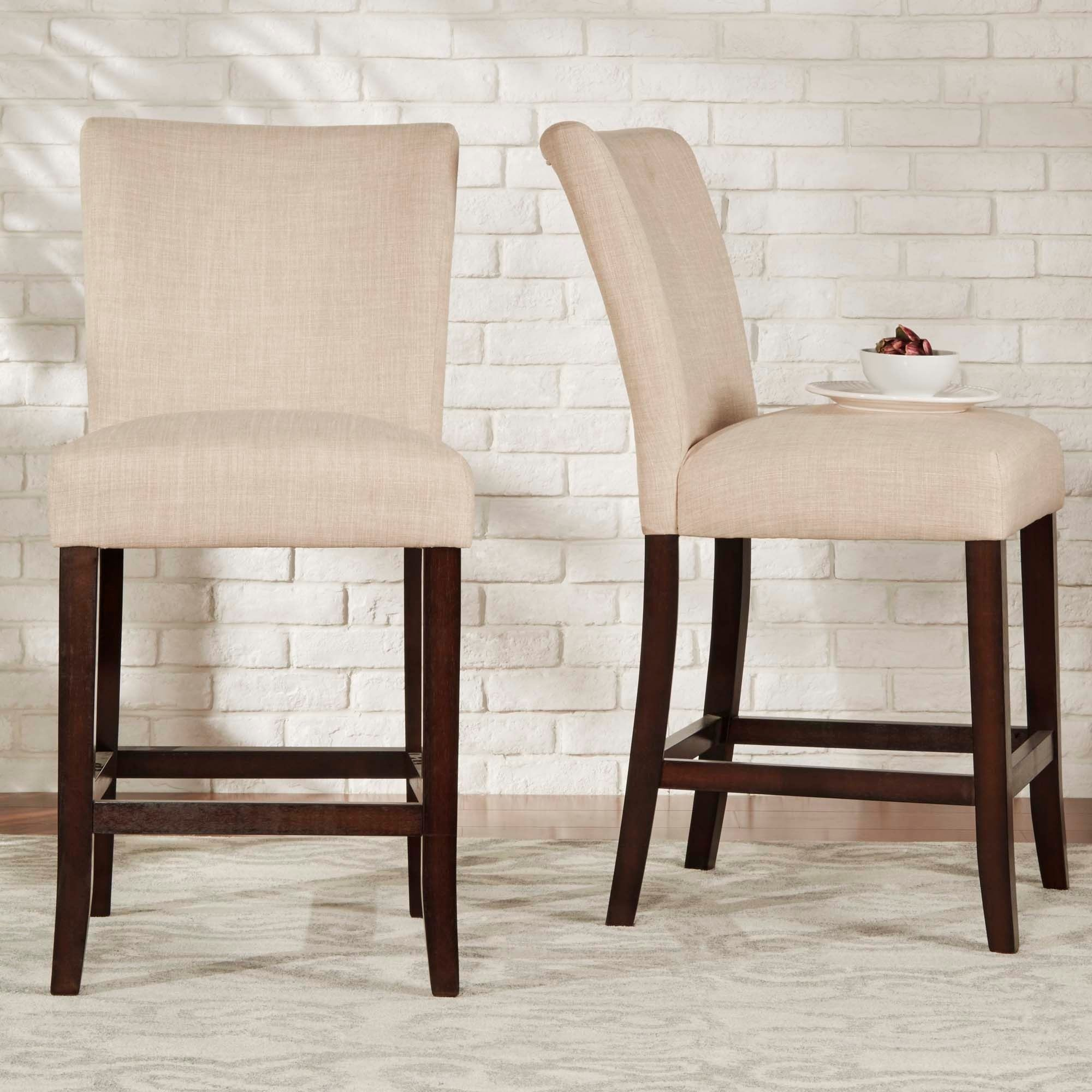Parson Clic Linen Counter Height High Back Stools Set Of 2 By Inspire Q Bold