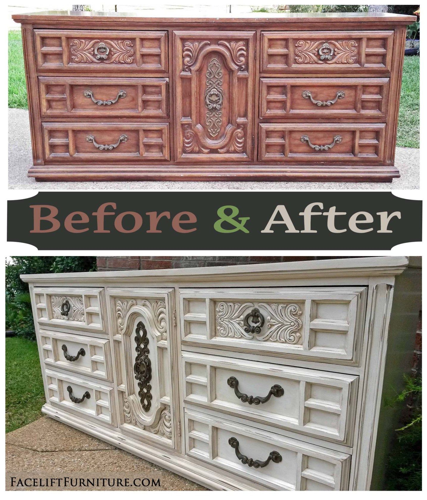 Decorating With Distressed Furniture: Ornate Vintage Dresser In Distressed Off White