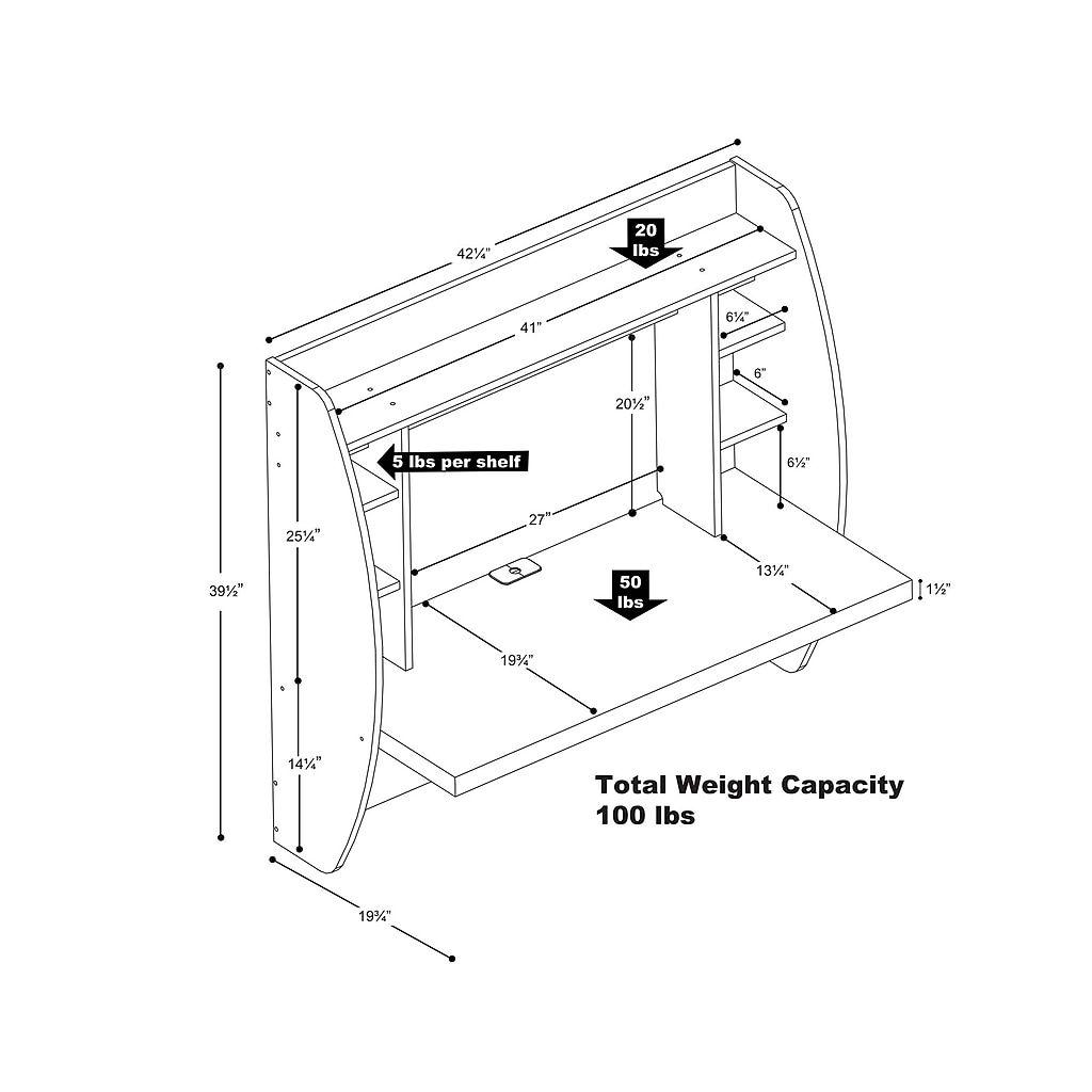 Prepac Wall Mounted Floating Desk With Storage White Wehw 0200 1 Paidia Paidiko Dwmatio