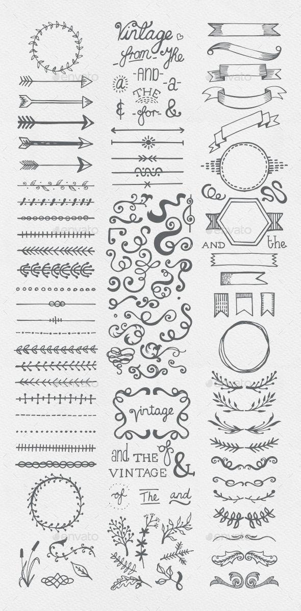 Coleccion De Elementos Vintage Dibujados A Mano Para Vinetas Bullet Collection Dra Ideias Para Cadernos Revista Desenho De Letras A Mao