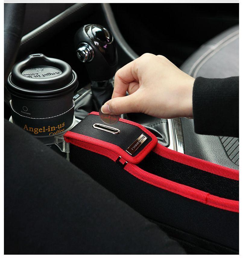 Left Side Black Coin Car Seat Purse Organizer Storage Slim