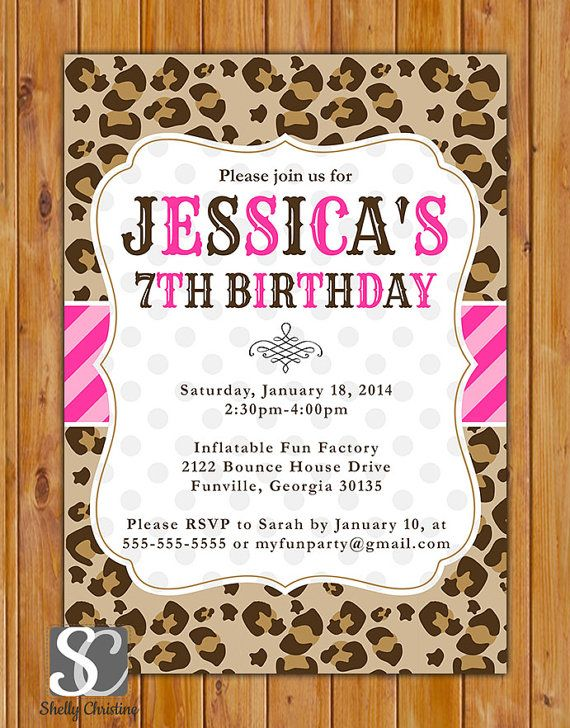 leopard print birthday party invite pink stripes polka dots invite