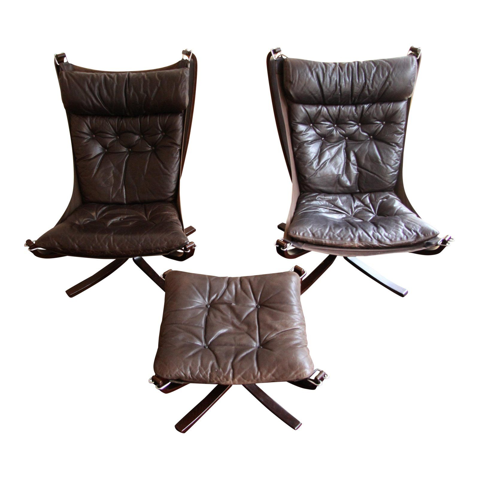 Super 1970S Mid Century Modern Sigurd Reseell Falcon Chairs And Ncnpc Chair Design For Home Ncnpcorg