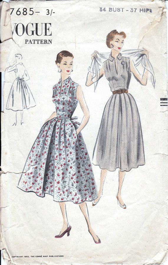 50s Vogue sewing pattern, vogue 7685, bust 34 inches, dress sewing ...