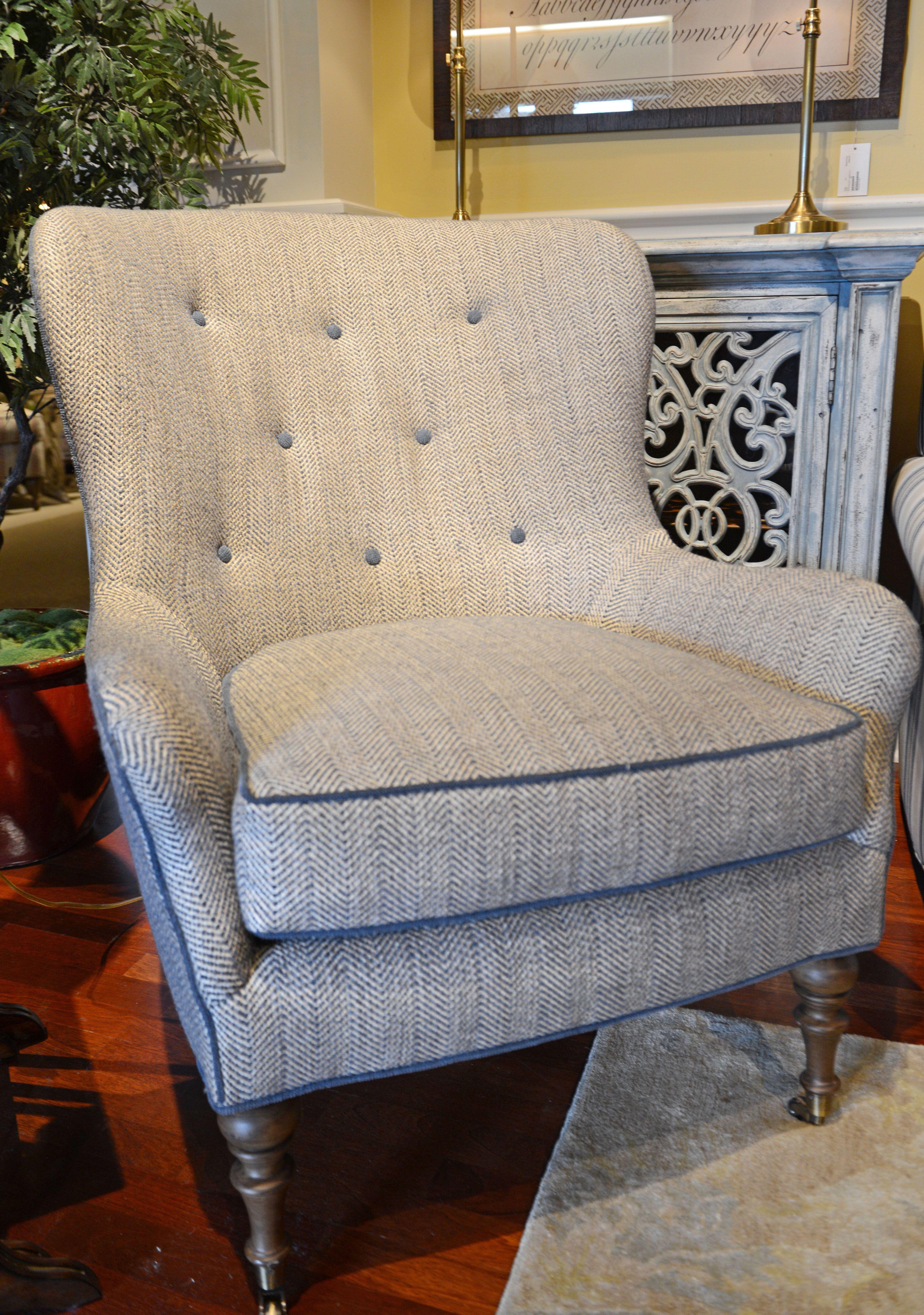 Menswear patterns like herringbone and houndstooth as upholstery