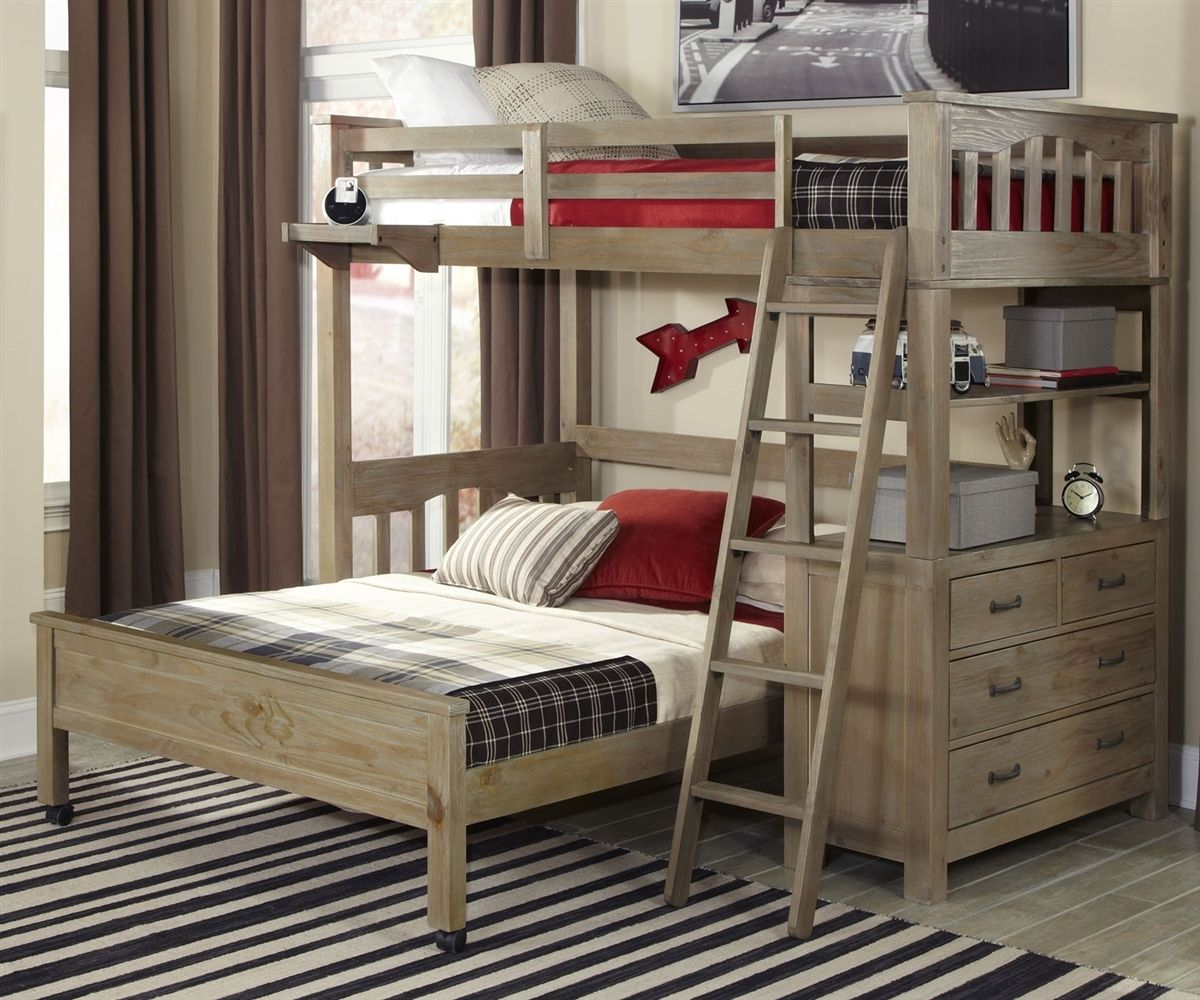 Everglades Loft Bed With Full Size Lower Bed Driftwood Loft Bed L Shaped Bunk Beds Bunk Beds With Stairs