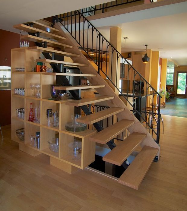 Nice Open Tread Staircase Under Stairs Storage Shelves