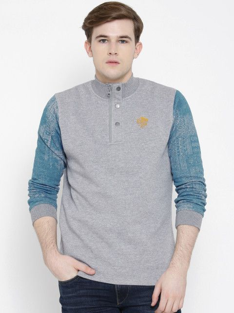 Buy SPYKAR Grey Printed Detail Sweatshirt - Sweatshirts for Men | Myntra