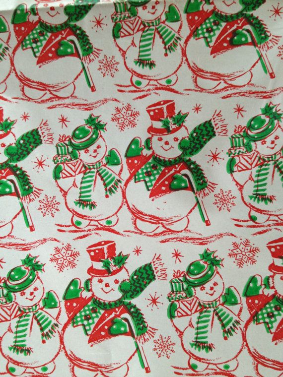 Vintage Snowman Christmas Gift Wrap By Twinspruceantiques On Etsy