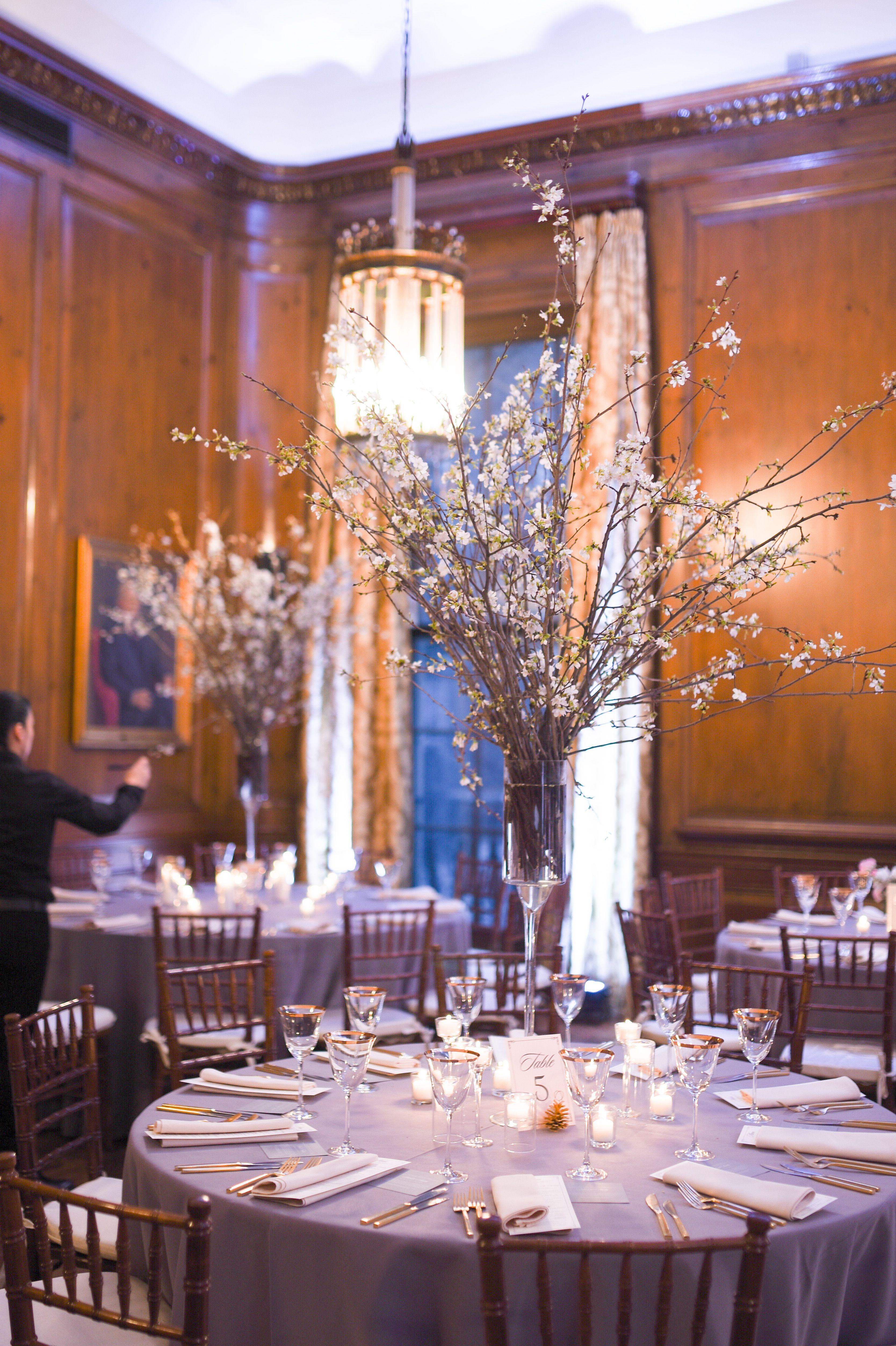 Cherry Blossom Centerpieces Pratt Mansion Wedding