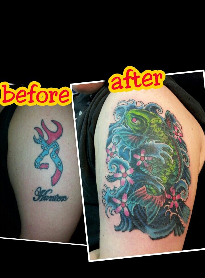 Koi fish cover up over browning buck tattoo cover ups for Brown tattoo ink cover up