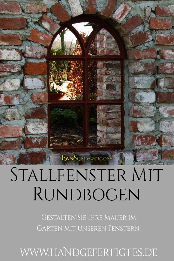 Eisenfenster mit Rundbogen runder Bogen Fenster V 66 x 39 Fenster Gartenmauer