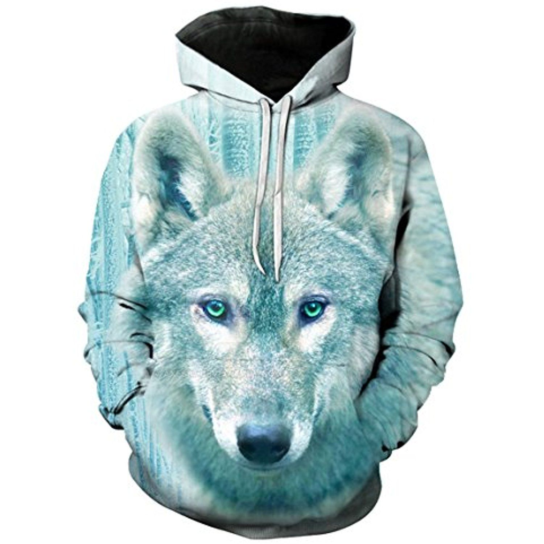 Wolf Printed Hoodie Unisex Sweatshirts Boy Pullover Fashion Animal Streetwear Clothes