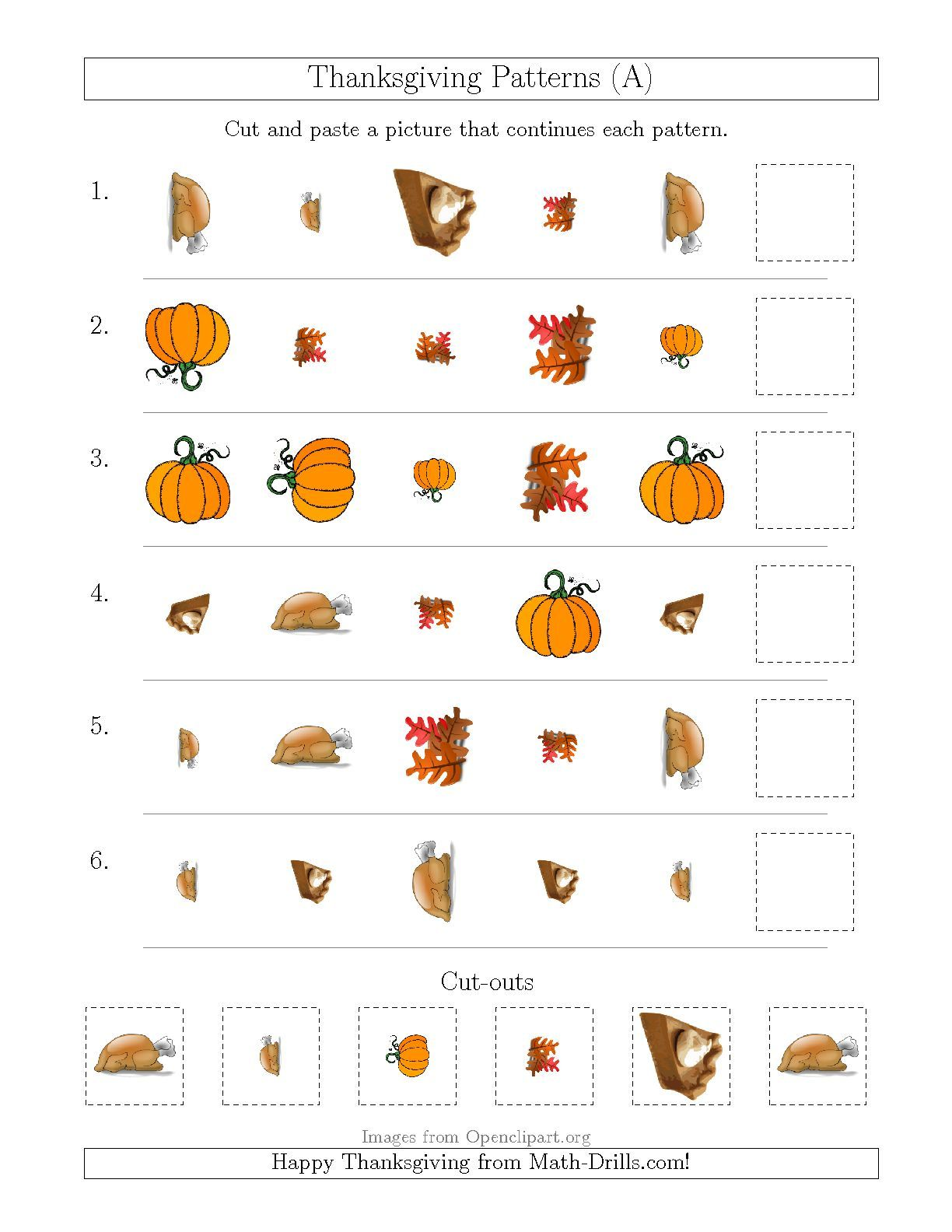 Updated Thanksgiving Picture Patterns With Shape Size
