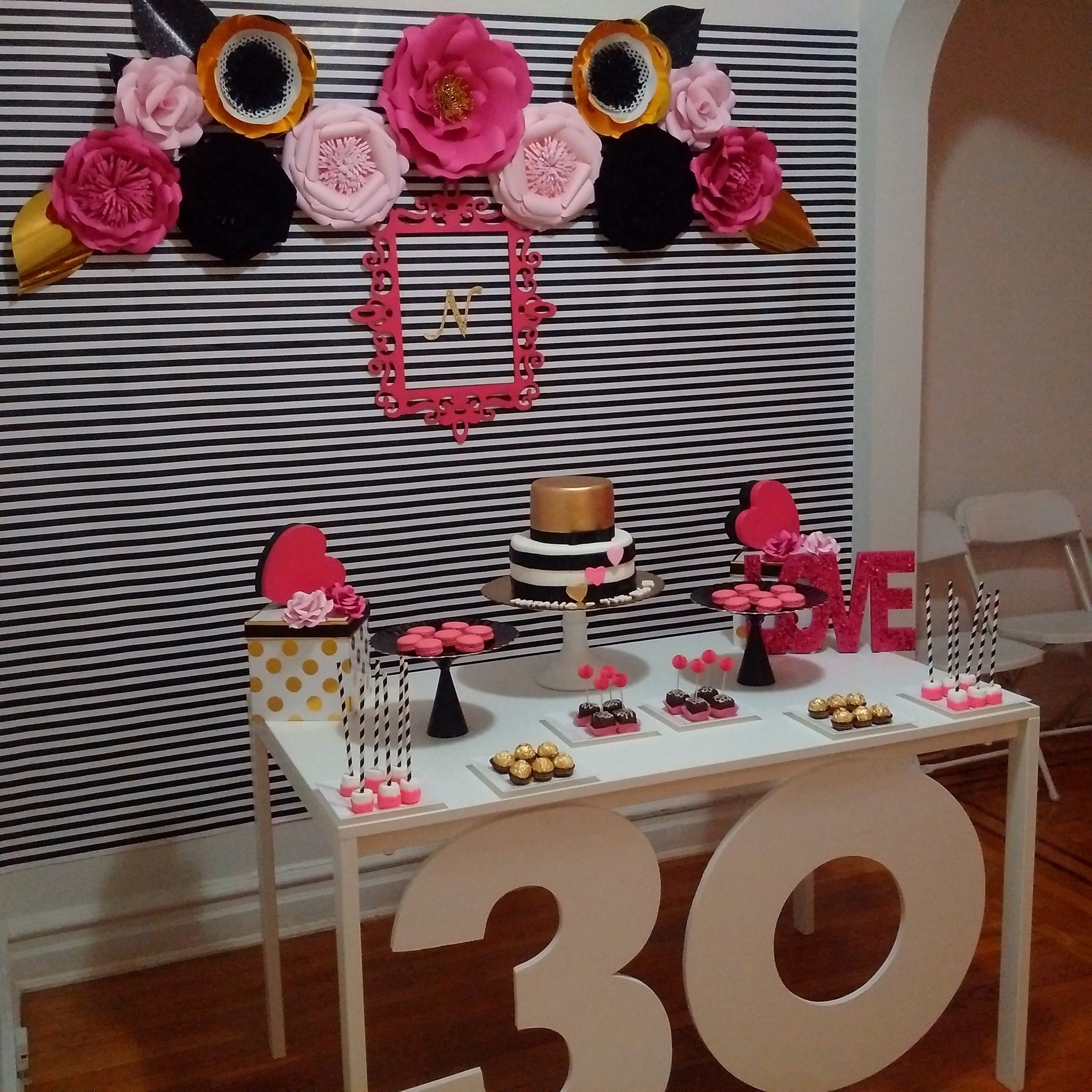 Kate Spade Insired 30th Birthday Decor With Paper Flowers