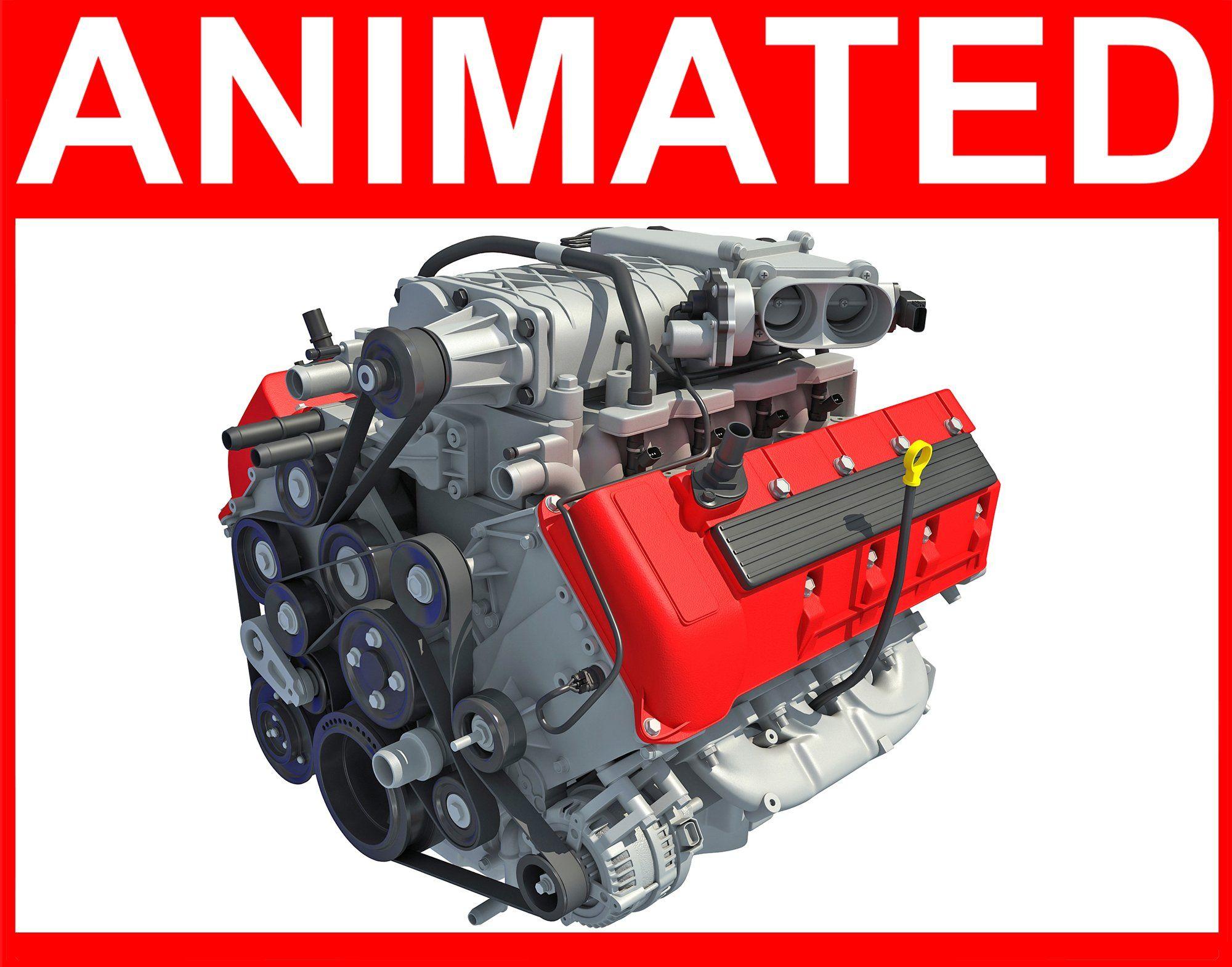 Animated V8 Engine | 3D Engine Models | Engineering, Animation