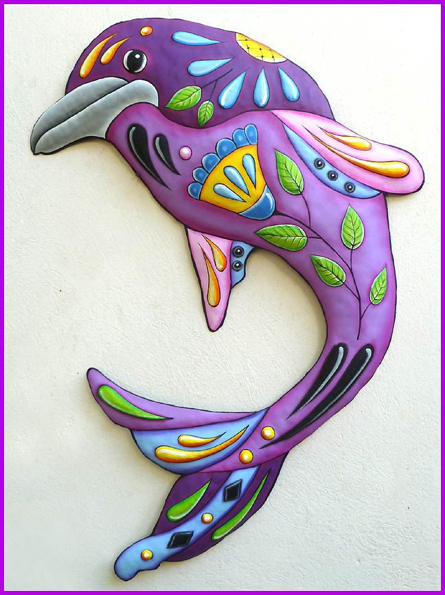 Dolphin Painted Metal Art Wall Hanging Metal Decor Outdoor