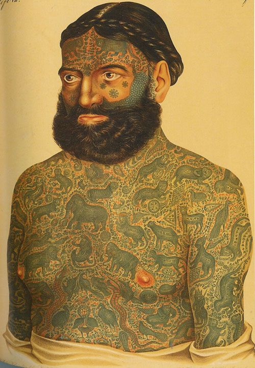 """Captain Constantine, 1870  Prince or Captain Constantine was, according to legend, forcibly tattooed by Burmese or Chinese tattoo artists. The tattoos """"consisted of 388 symmetrically arranged and closely interwoven images that covered his entire body, including his face, eyelids, ears, and penis. The designs, according to his publicity, consisted of crowned sphinxes, dragons, serpents, monkeys, elephants, leopards, tigers, lions, panthers, gazelles, cats, crocodile"""