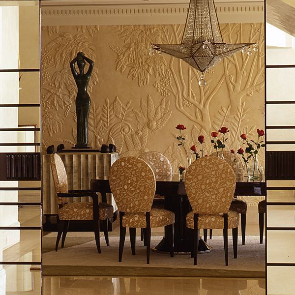Art deco dining room set, influences seen on the Wall, the Dining table and chairs a project from the designer Alberto Pinto