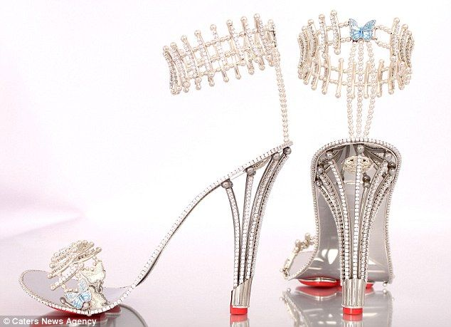 Work of art: The design has taken over two years to develop and each pair takes about three weeks to create. The stilettos are the work of British designer, Christopher Michael Shellis from Birmingham