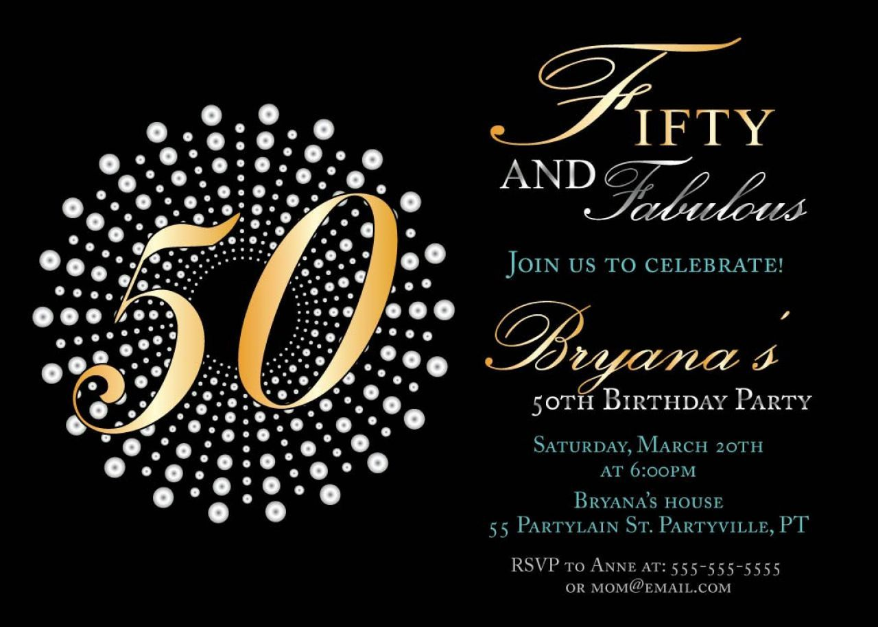 Awesome Best 50th Birthday Invitations Printable