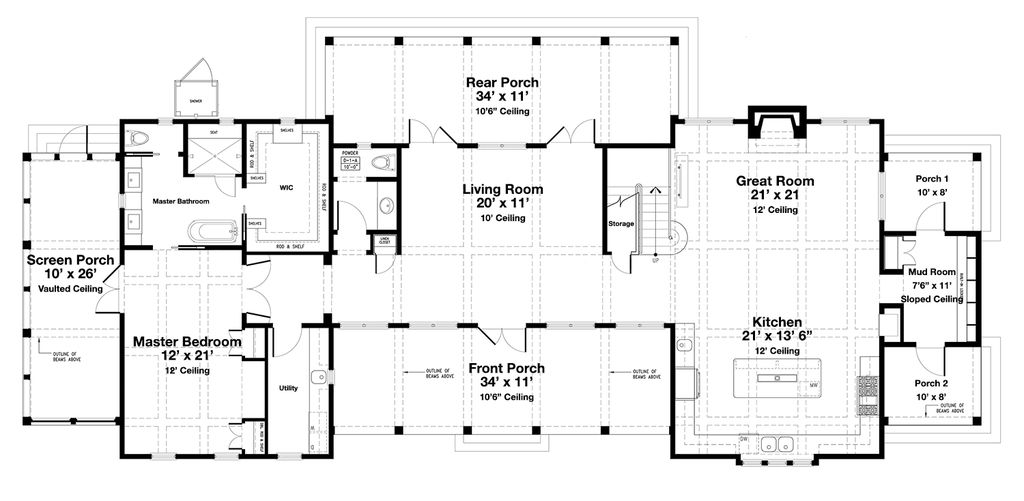 Beach Style House Plan 4 Beds 4 5 Baths 3000 Sq Ft Plan 443 19 Two Story House Plans Beach Style House Plans House Plans One Story