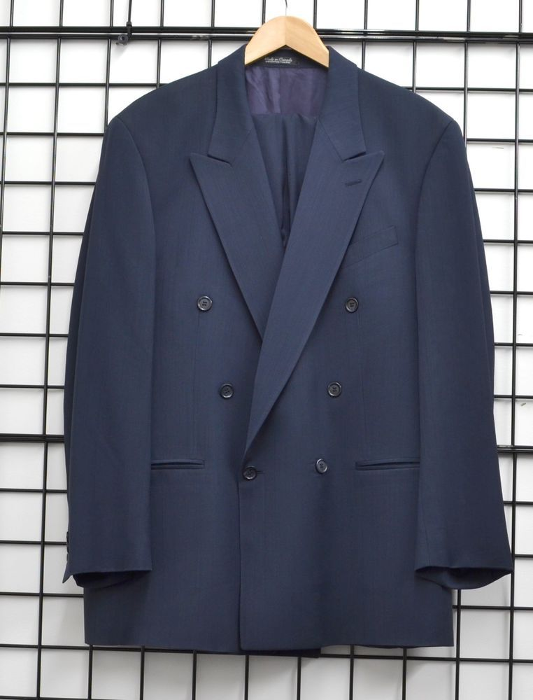 Pinstripe Double Wool Suit Mens Pants Navy Breasted Franco Tassi And qVMpUGSLz