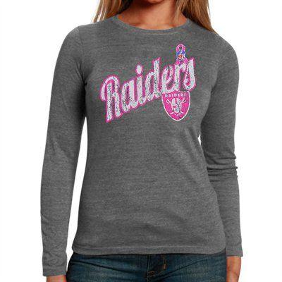 brand new 97688 6c846 Oakland Raiders Breast Cancer Awareness Long Sleeve T-Shirt ...