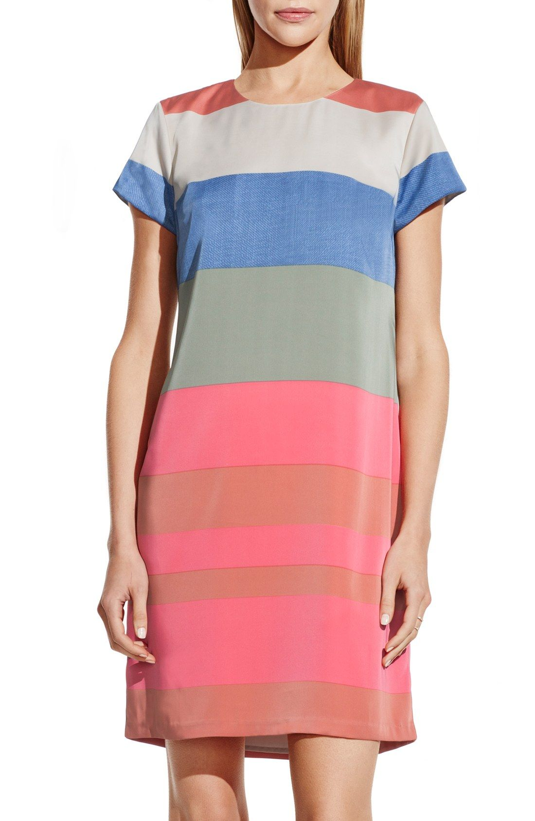 Pairing this fun striped dress with flats and a blazer for a vibrant ...