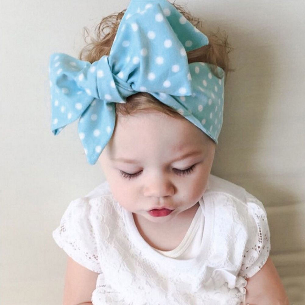 d47832d7887 Large Bowknot Baby Headbands DIY Baby Turban Knot Polka Dot Headband Big  Bow Adjustable Solid Rabbit Hair Band