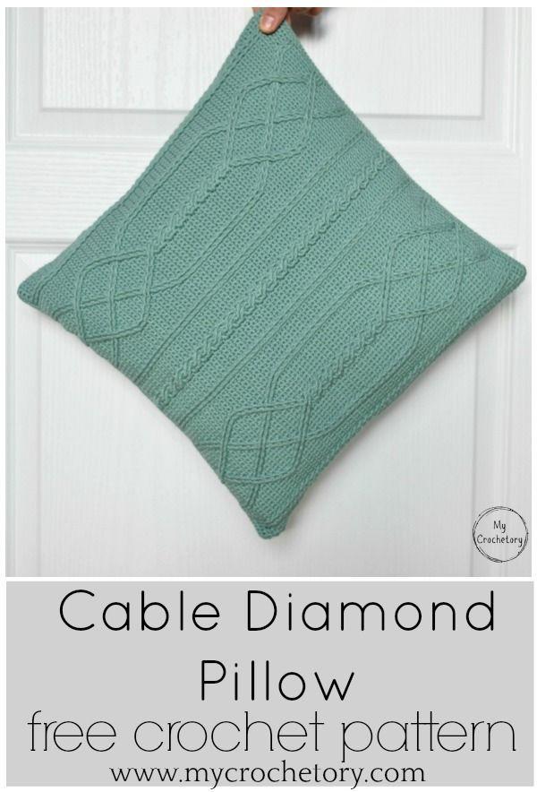 Cable Diamond Pillow - free crochet pattern by | Crochet | Pinterest ...