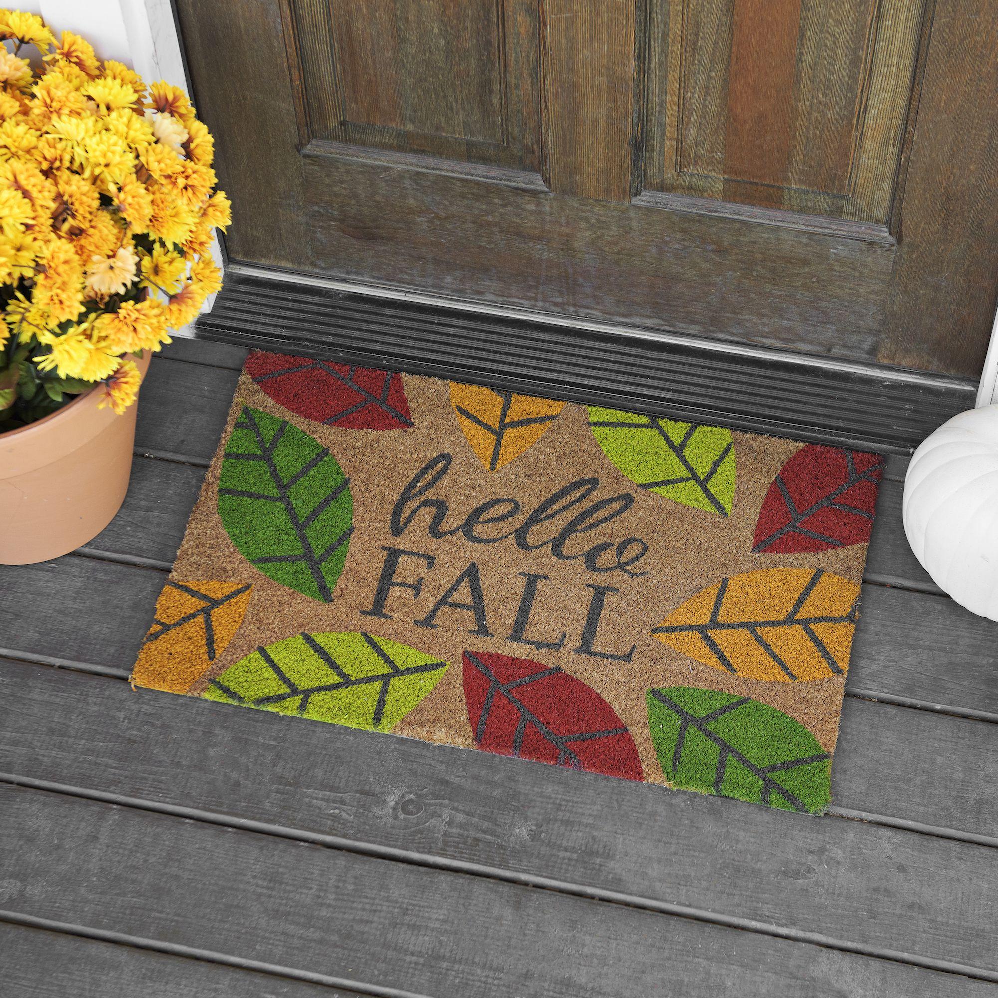 Hello fall leaves doormat doormat front doors and doors hello fall leaves doormat kristyandbryce Images