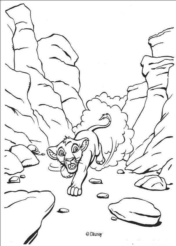 Simba Runs Away coloring page | Leeuwenkoning | Pinterest