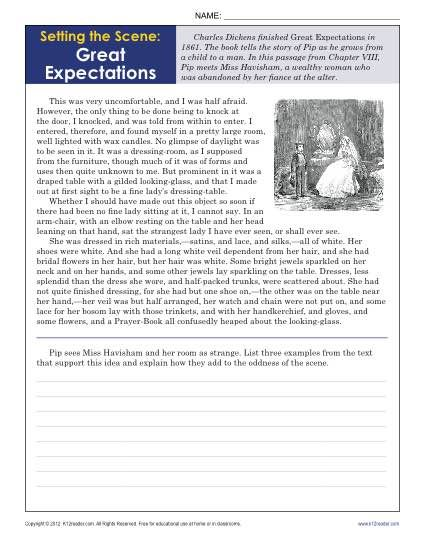 Setting The Scene Great Expectations 9th 10th Grade Reading Comprehension Worksheets Reading Comprehension Worksheets 10th Grade Reading Reading Worksheets