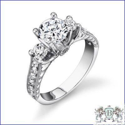 GREGORIO 18K WHITE GOLD DIAMOND ENGAGEMENT RING R-463