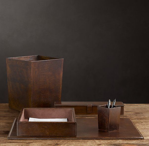 Artisan Leather Desk Accessories Chocolate Home Office