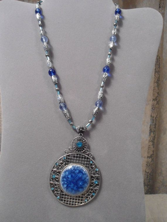 Hippie necklace blue rhinestone large silver pendant boho hippie large tibetan silver blue rhinestone pendant handmade beaded necklace southwest hippie boho statement long costume gypsy aloadofball Image collections