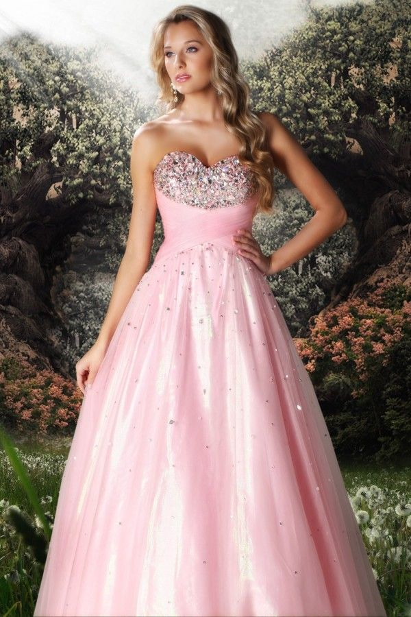 Sweetheart Beading Tulle Ball Gown Prom Dress #pink #wedding #dress ...