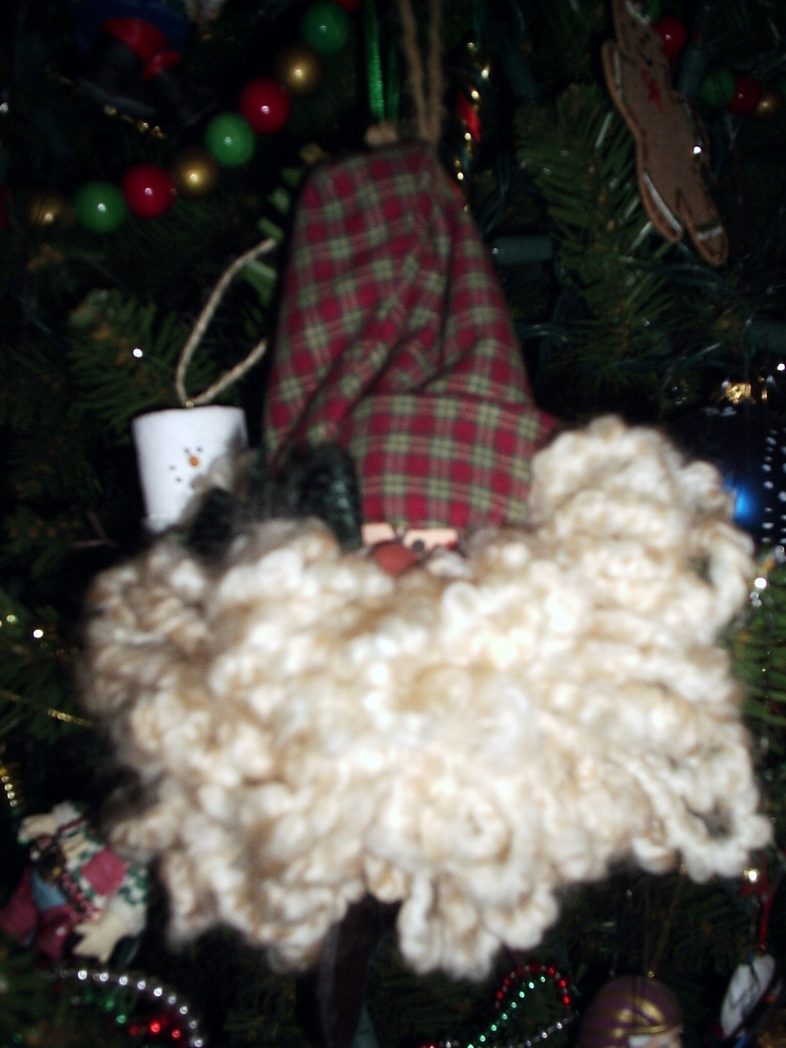 wooden ball and fabric santa