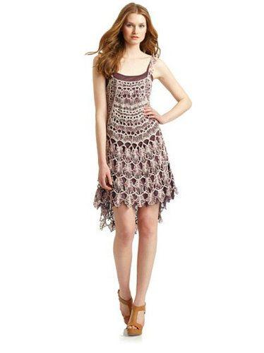 Free People High Low Beige Plum Spun Vintage Crochet Knit Scallop Dress XS | eBay