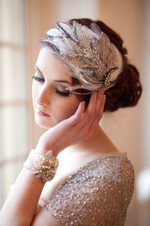 Wedding Hair Clip Great Gatsby Style Bridal Hair Accessory Feather Hair Clip Wedding Head Piece Bridal Comb Black Headpiece
