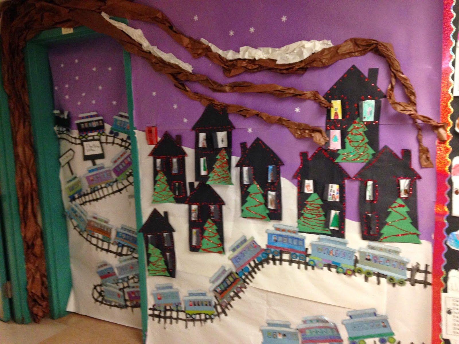 Window decoration for kindergarten  fun with the polar express  classroom door decorating  pinterest