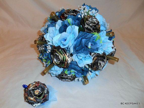 Mossy Oak Camo In Blue Silk Flowers Bullet Bouquet Camo Wedding